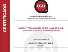 Certificado de Calidad VTN ISO 9001-2018