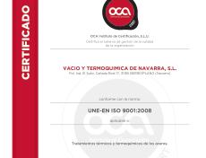 Certificado de Calidad VTN ISO 9001-2008